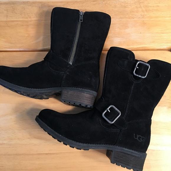 9a26e05fe19 Ugg Australia Chaney Black Suede Mid Calf Boots